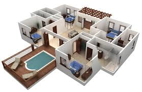 villa plan 3d ideas