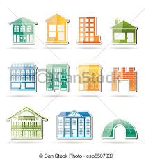 Types Of Houses Pictures Vectors Illustration Of Different Kinds Of Houses And Buildings