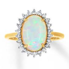 opal rings jewelry images Natural opal ring 1 3 ct tw diamonds 14k yellow gold 491142802 jpg