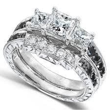 black diamond bridal set black and white diamond wedding set 1 3 5 carats ctw in 14k