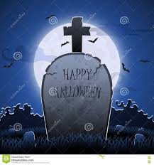 halloween full moon background old gravestone at night with happy halloween word in cemetery