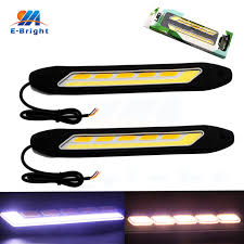 cob led light bar 1pair cob led drl daytime running lights white with yellow turn