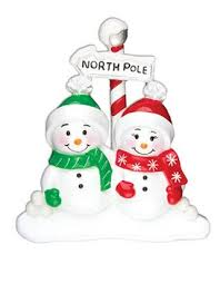 family ornaments snowmen and character families
