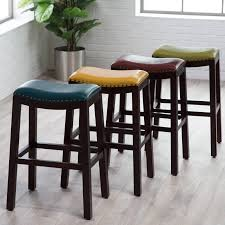 Leather Bar Chair Furniture Tufted Leather Bar Stool Counter Stools With Backs