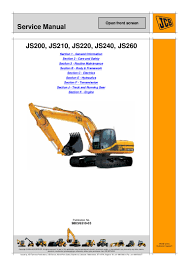 jcb js220 tracked excavator service repair manual sn 1018001 to