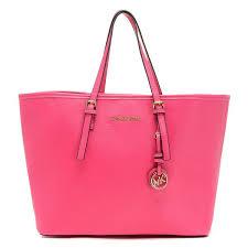 Tas Michael Kors michael michael kors jet set kleine saffiano reisetasche pink