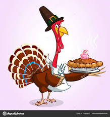 thanksgiving turkey holding fork and pie isolated vector