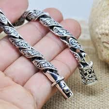 mens engraved necklaces mens sterling silver bracelet vintage retro flower pattern
