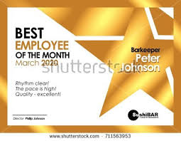 of the month diploma best employee month golden template stock vector 711563953