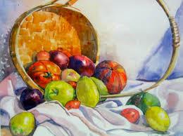 fruit basket still original watercolor transparent