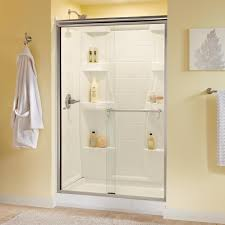 delta phoebe 48 in x 70 in semi frameless sliding shower door in