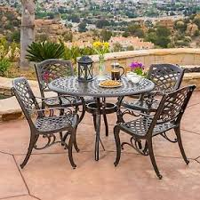 cast aluminum dining table outdoor patio furniture 5pcs bronze cast aluminum dining set