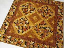 fall quilted table topper patchwork mountain