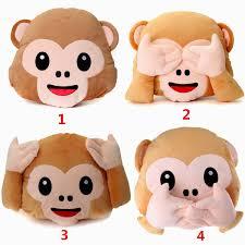 gardening emoji monkey emoji no hand listening saying looking smiley cushion