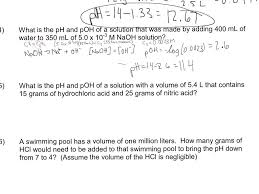 chemistry ph and poh calculations worksheet worksheets