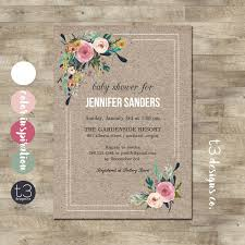shabby chic corner bouquet baby shower invitation baby