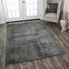 Calgary Area Rugs Calgary Tufted Soft Shag Grey Solid Area Rug 7 X
