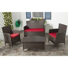 4 Piece Wicker Patio Furniture Amazon Com Safavieh Home Collection Briana Brown Outdoor Living
