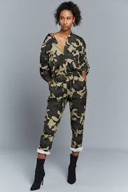 camouflage jumpsuit womens camouflage button up jumpsuit edgelook