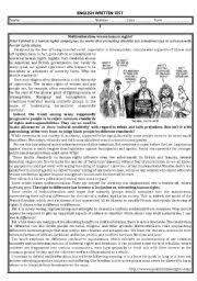 english worksheet test about multiculturalism aecs pinterest