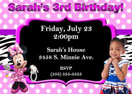 3rd Birthday Invitation Cards Minnie Mouse Birthday Party Invitations Birthday Card Invitations