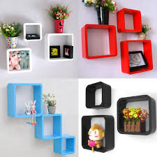 Wall Storage Shelves Tinxs Fashion Retro Square Rounded Floating Cube Wall Storage