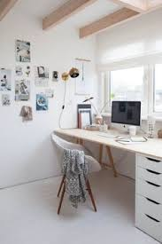 studio desk work space home office in white and neutral