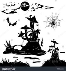 magic halloween background halloween cartoon landscape magic castle mushroom stock vector