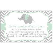 Baby Shower Invitations Bring A Book Instead Of Card Chevron Elephant Gender Neutral Shower Invitation U2013 The Invite Lady