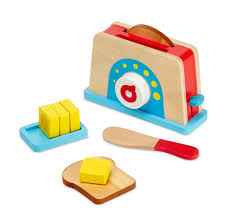 melissa u0026 doug bread and butter toaster set 9 pcs wooden play