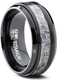 men s wedding bands 9mm black titanium men s wedding band ring with wide gray carbon