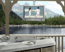white metal suspended outdoor tv mount on wooden gazebo for jacuzzi pool jpg