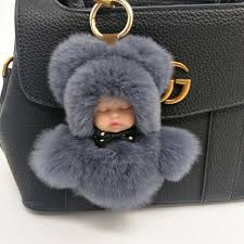 baby keychain fluffy real rabbit fur pompom sleeping baby key chain women