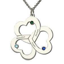 Birthstone Name Necklace Personalized Triple Heart Name Necklace Silver Engraved Birthstone