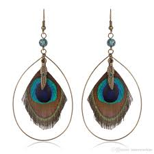 peacock feather earrings s feather women s earrings ethnic wooden peacock feather