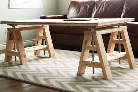 iron horse table base ana white modern indsutrial adjustable sawhorse desk to coffee