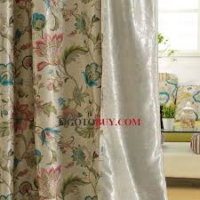 vintage botanical pattern thick linen and cotton black curtains