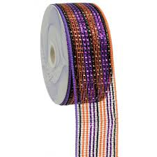 wide mesh ribbon 2 5 poly deco mesh ribbon deluxe wide foil black orange purple