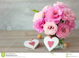 Beautiful Flowers Two Handmade Valentine U0027s Hearts And Beautiful Flowers Stock Photo