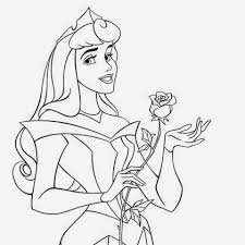 Coloriage Princesse Aurore et la rose  Coloriage Princesse Disney