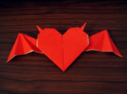 origami heart with horns and bat wings how to fold an origami