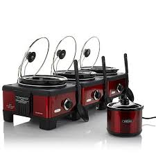 bella set of 3 linkable 2 5 quart slow cookers with little dipper