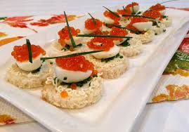 appetizer canape caviar canapé with quail eggs and chives