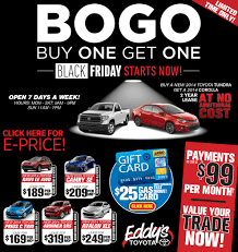 toyota lease eddy u0027s toyota early black friday bogo sales event wichita ks