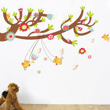home decor wall art stickers peel and stick large tree branch wall stickers happy birds