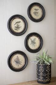 round vintage bird prints set of four products i love
