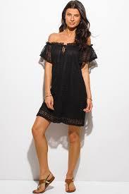 shop black lace off shoulder short sleeve keyhole neck boho resort
