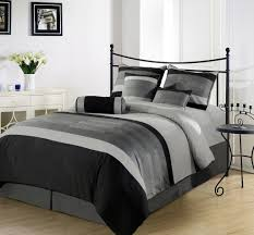 metal bed and grey comforter for stylish bedroom decorating ideas