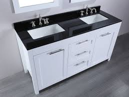 white wooden bathroom double vanity having black top and double
