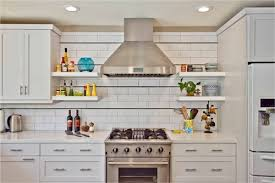 contemporary kitchen with a stove two existing shelf plates and